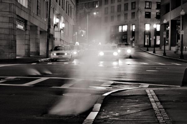 Bostons Strassen bei Nacht