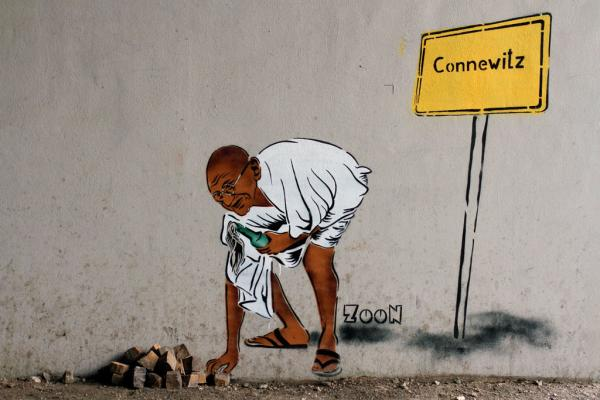 Leipzig Streetart: Gandhi by Zoon #2