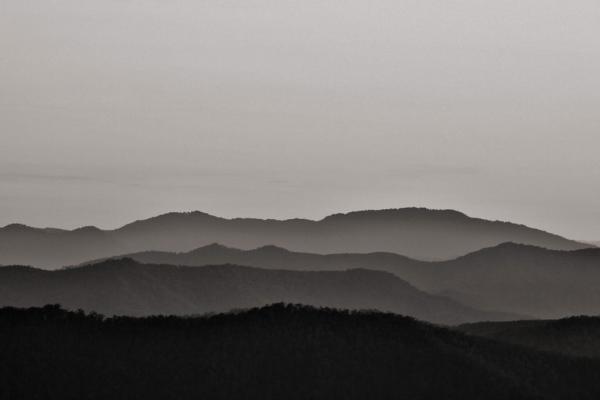 Mountain view bei Sonnenuntergang